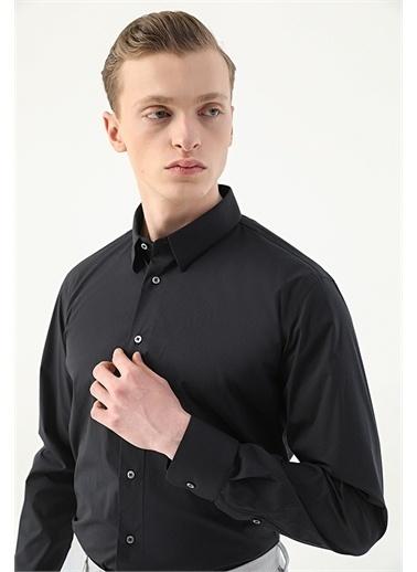 Damat Damat Slim Fit Mavi Düz Gömlek Siyah